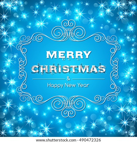 Merry christmas text message with decorative frame on sparkling background. Illustration