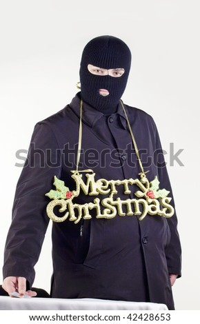 merry Christmas thief - stock photo