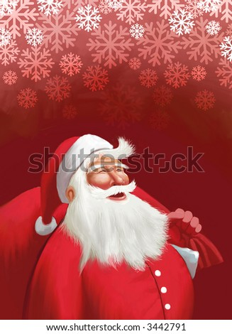 merry Christmas to all from Santa - stock photo