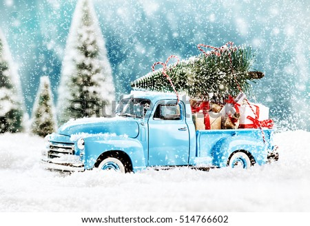 Merry Christmas tree transporter bringing gifts to all the sweethearts on x mas evening