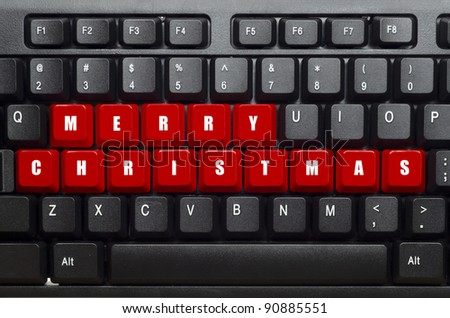 merry christmas word on red and black keyboard button