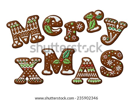 merry Christmas words, decorated gingerbread cookies illustration, isolated letters - stock photo