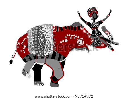 merry circus in ethnic style with an elephant and acrobat - stock photo