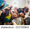 Merry Company at a house party - stock photo