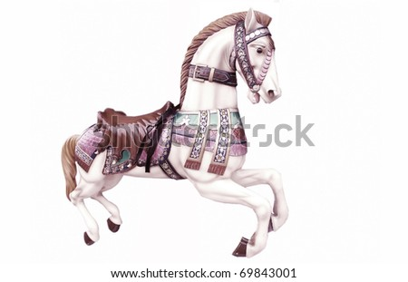 Merry-go-around horse - stock photo