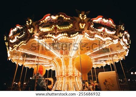 merry-go-round at deep dark night  - stock photo