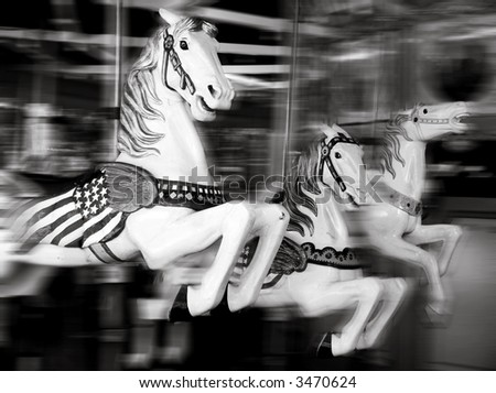 merry-go-round in black and white