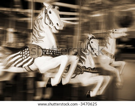 merry-go-round in sepia - stock photo
