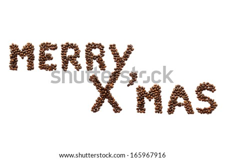 Merry X'mas (coffee beans) on white background (Isolated) - stock photo