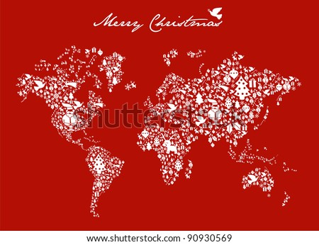Merry Xmas with icon set in globe world map background. - stock photo