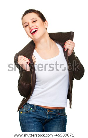 merry young woman in brown jacket. isolated on white - stock photo
