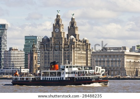 Mersey Ferry Boat and Liver buildings, Liverpool, England, UK - stock photo