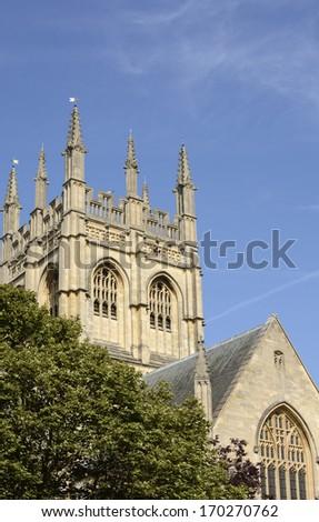 Merton College chapel tower. Oxford. England - stock photo