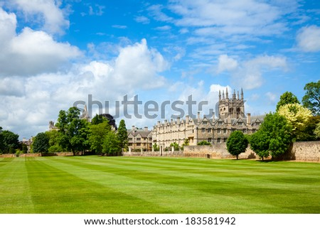 Merton College with chapel, Oxford University, England - stock photo