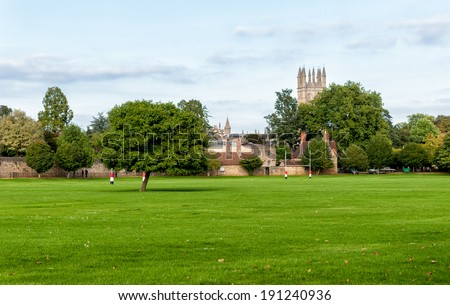 Merton College with Playing field in the foreground, Oxford - stock photo