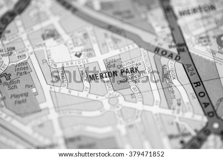 Merton Park. London, UK map.
