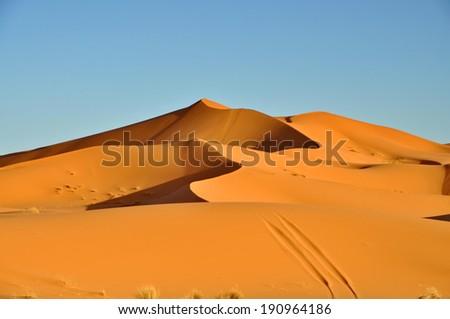 Merzouga desert in Morocco - stock photo