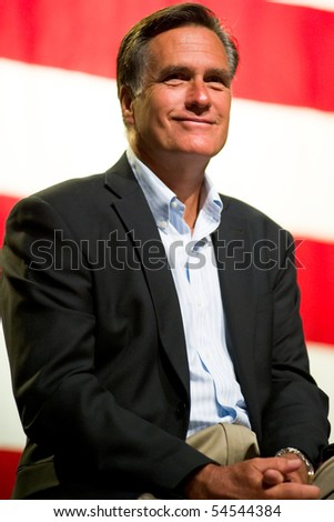MESA, AZ - JUNE 4: Former Massachusetts Governor Mitt Romney appears at a town hall meeting on June 4, 2010 in Mesa, Arizona. - stock photo