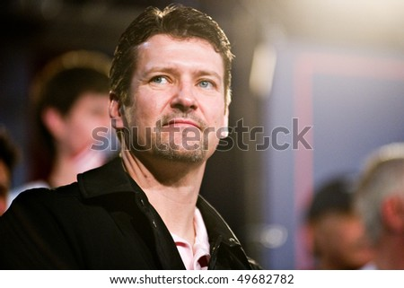 MESA, AZ - MARCH 27: Todd Palin, husband of former Vice Presidential candidate Sarah Palin, attends a re-election rally in support of Arizona Senator John McCain on March 27, 2010 in Mesa, AZ. - stock photo