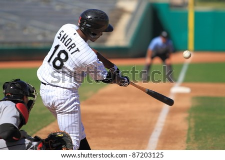 MESA, AZ - OCTOBER 17: Brandon Short, a Chicago White Sox prospect, bats for the Mesa Solar Sox in an Arizona Fall League game Oct. 17, 2011 at HoHoKam Stadium. Short went 1-for-3 with 2 runs scored.