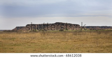 mesa in the northwest corner of Oklahoma's ranch country - stock photo