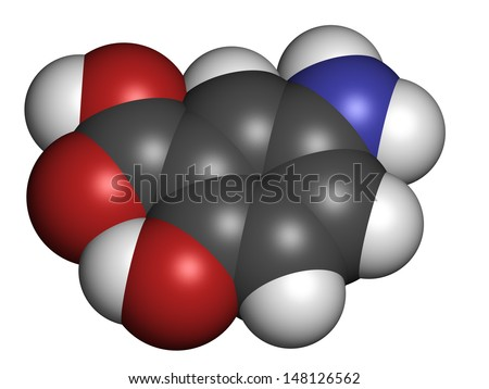 Mesalazine (mesalamine, 5-aminosalicylic acid, 5-ASA) inflammatory bowel disease drug, chemical structure. Used to treat ulcerative colitis and Crohn's disease. Atoms are represented as spheres. - stock photo