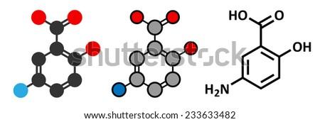 Mesalazine (mesalamine, 5-aminosalicylic acid, 5-ASA) inflammatory bowel disease drug molecule. Used to treat ulcerative colitis and Crohn's disease.  - stock photo