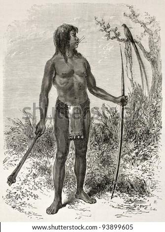 Mesaya native old engraved portrait, Brazil. Created by Riou, published on Le Tour du Monde, Paris, 1867 - stock photo