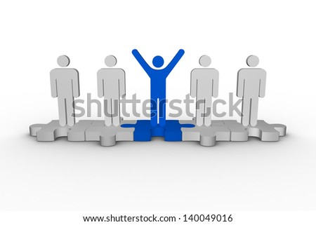Meshed jigsaw pieces with human forms with one raising arms on white background