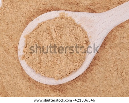 Mesquite powder in wooden spoon