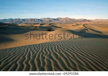 Mesquite Sand Dunes in Death Valley, California. - stock photo