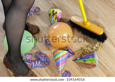 mess after party and cleaning - stock photo