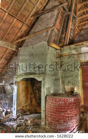 Mess in an old house - The house is abandoned for 30 years. - stock photo