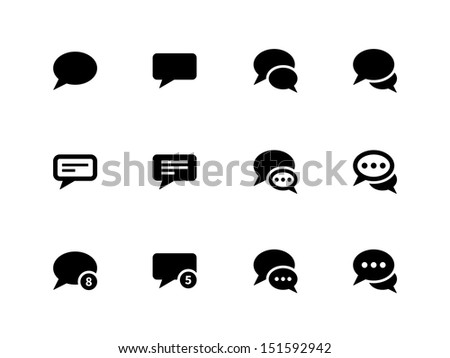 Message bubble icons on white background. See also vector version. - stock photo