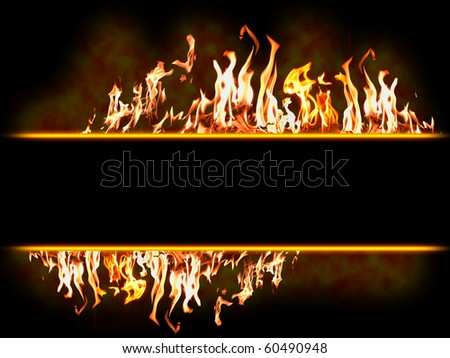 message Fire banner - Highly detailed vector illustration with flames with blank space - stock photo