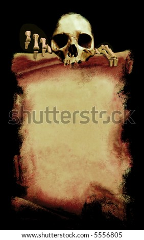 message from the death, grunge halloween poster with skeleton on black background - stock photo