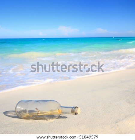 Message in a bottle washed ashore on a beach - stock photo