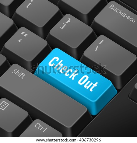 message on keyboard enter key for check out concepts. 3D rendering - stock photo