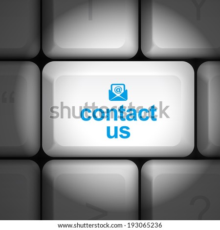 message on keyboard enter key, for contact us concepts - stock photo