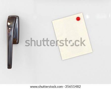 message paper on refrigerator - stock photo