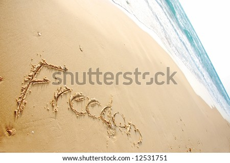 """Message says """"Freedom"""" written in the sand blue ocean in the background - stock photo"""