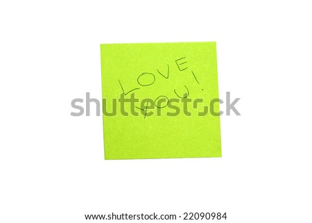 Message written on green paper