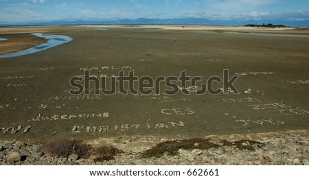Messages on the beach - stock photo
