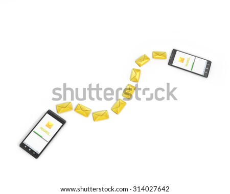 messaging, texting, chatting 3d concept - two cell phones with message icons - stock photo