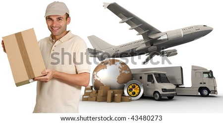 Messenger with a background composed of  a world map, packages, a chronometer vans, trucks, and an airplane - stock photo