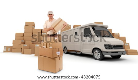 Messenger with a parcel in his hands with a van and piles of packages in the background (I made up the information on the labels so no copyright issue) - stock photo