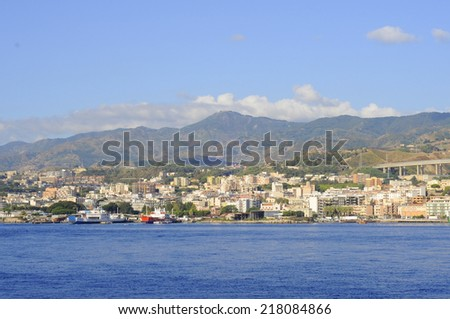 Messina and the strait  - stock photo