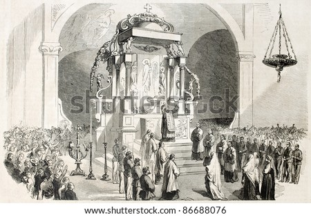 Messina cathedral interior, Italy: announcement of the victory against Neapolitans. Created by Worms, published on L'Illustration, Journal Universel, Paris, 1860 - stock photo