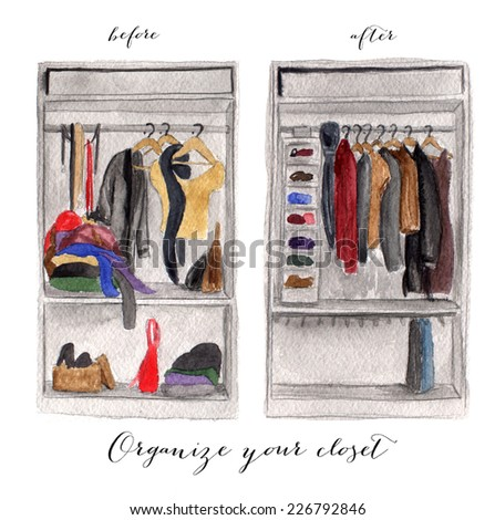 Messy and clean closet watercolor illustration - stock photo