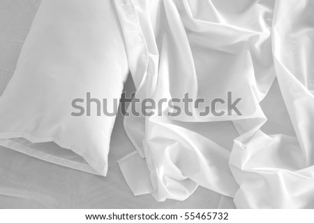 Messy bed. - stock photo